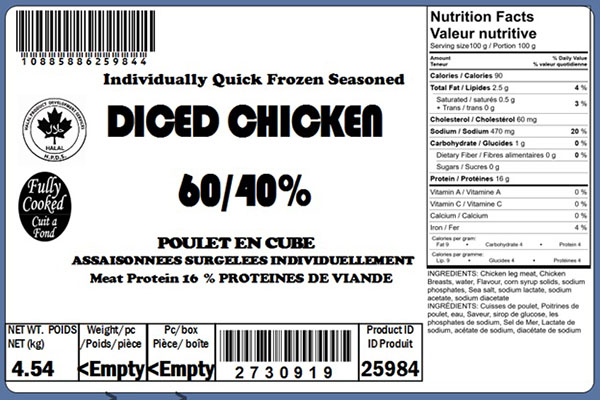 Glacial Treasure - Diced Chicken 60/40% (Halal) Product ID: 25984