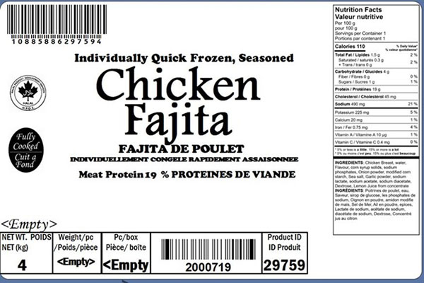 Glacial Treasure - Chicken Fajita  (Halal) Product ID: 29759