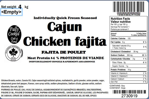 Glacial Treasure - Cajun Chicken fajita (Halal) Product ID: 29760