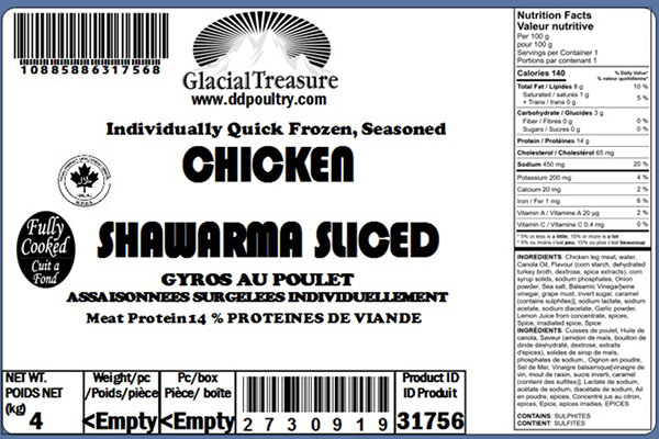 Glacial Treasure - Chicken Shawarma Sliced Product ID: 31756