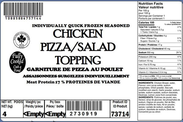 Glacial Treasure - Chicken Pizza/Salad Topping  (Halal) Product ID: 73714