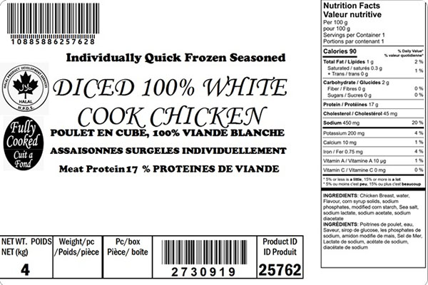 Glacial Treasure - Diced 100% White Cook Chicken (Halal) Product ID: 25762