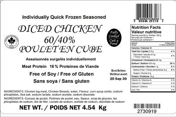 Glacial Treasure - Diced Chicken 60/40  Product ID: 29318
