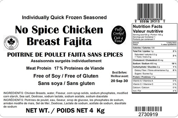 Glacial Treasure - No Spice Chicken Breast Fajita Product ID: 29315