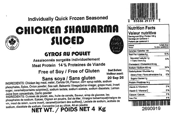 Glacial Treasure - Chicken Shawarma Sliced (Halal)  Product ID: 29319