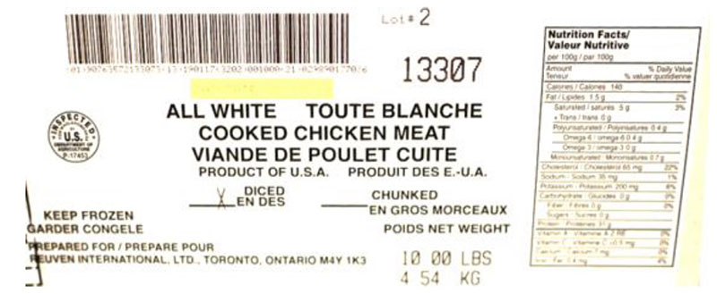Reuven International Ltd- All White Cooked Chicken  Meat  - Diced (#13307)
