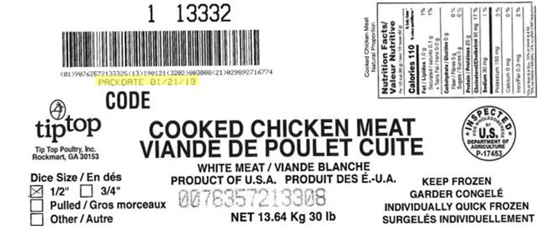 "Tip Top Poultry Inc. - Cooked Chicken Meat – ½"" Diced - (#13332)"