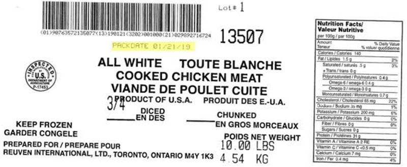 "Reuven International Ltd  - All White Cooked Chicken Meat – ¾"" Diced (#13507)"