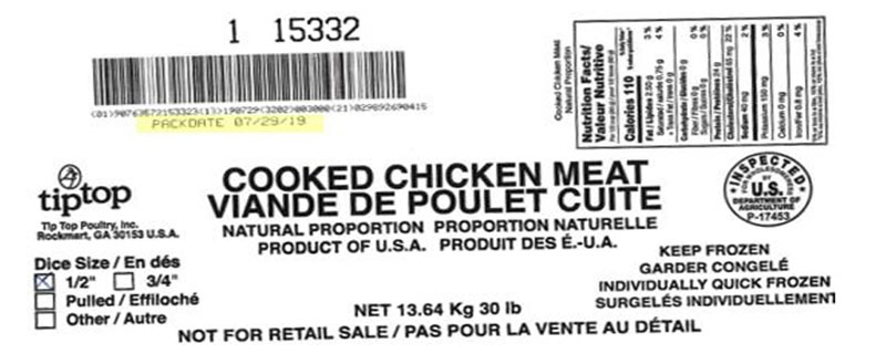 Reuven International - Viande de poulet cuite, proportion naturelle – en dés (#15307)