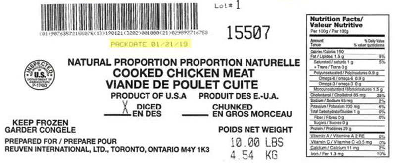 Reuven International Ltd  - Natural Proportion Cooked Chicken Meat - Diced(#15507)