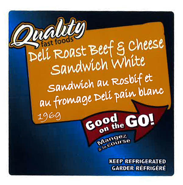 Quality Fast Foods - Deli Roast Beef & Cheese Sandwich White