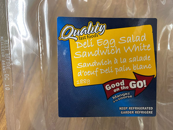 Deli Egg Salad Sandwich White - Oct 10