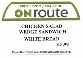 ONroute - « Chicken Salad Wedge Sandwich White Bread »
