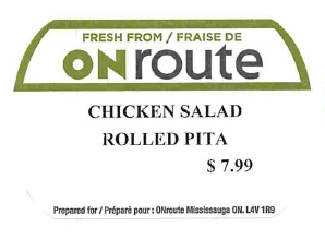 ONroute - « Chicken Salad Rolled Pita »