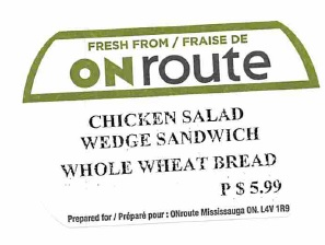 ONroute - « Chicken Salad Wedge Sandwich Whole Wheat Bread »