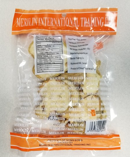 Merilin - Dried Pear - back of package