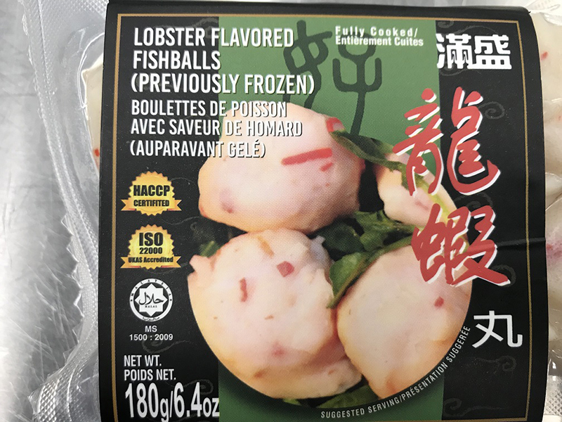 Lobster flavored fishballs (previously frozen)