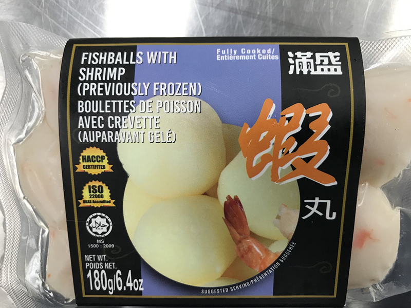 Fishballs with shrimp (previously frozen)