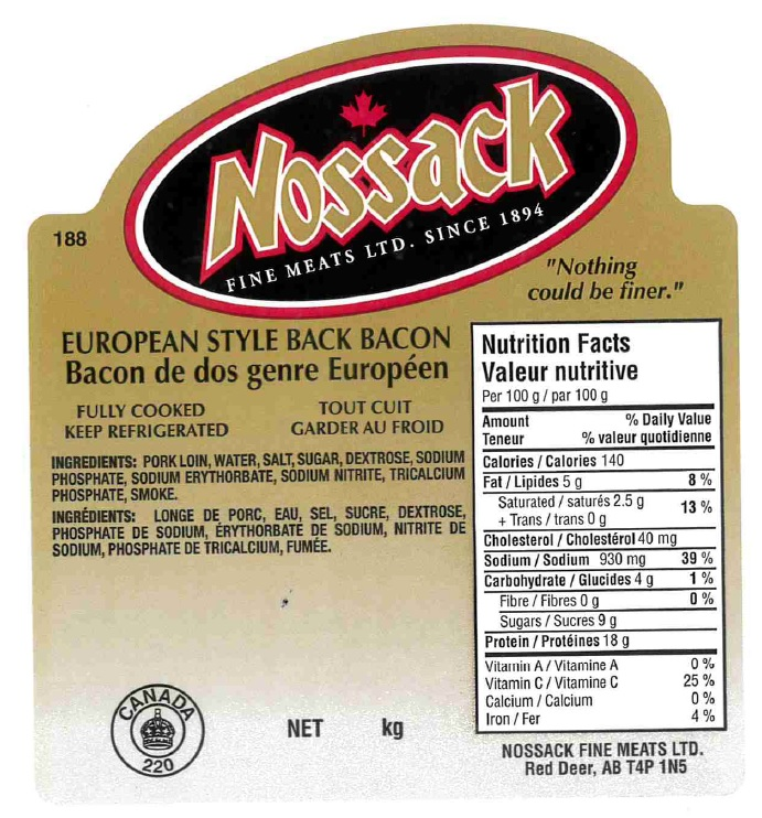 Nossack - European Style Back Bacon