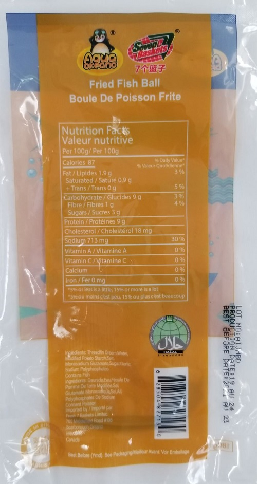 Aqua Okeano / Seven Baskets - Fried Fish Ball (Nutrition Facts Table)