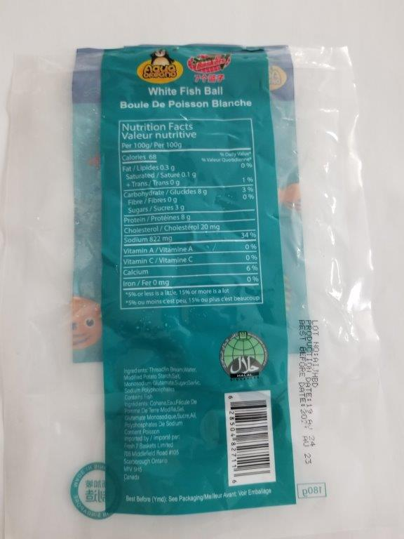 Aqua Okeano / Seven Baskets - White Fish Ball (Nutrition Facts Table)