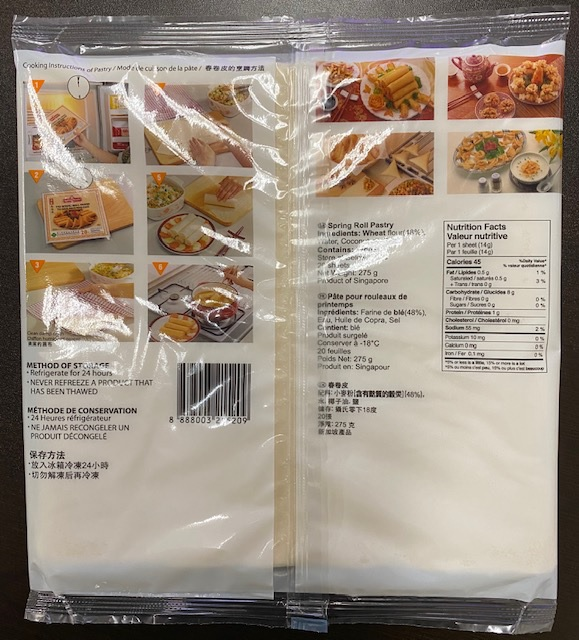 "TYJ Spring Roll Pastry (8.5"") - 275 g (20 sheets) - back of package"