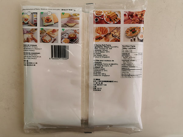 "TYJ Spring Roll Pastry (8.5"") - 550 g (40 sheets) - back of package"