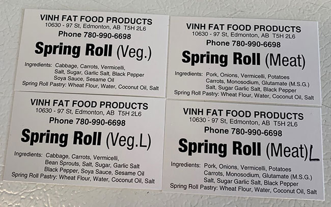 Vinh Fat Food Products : Spring Roll