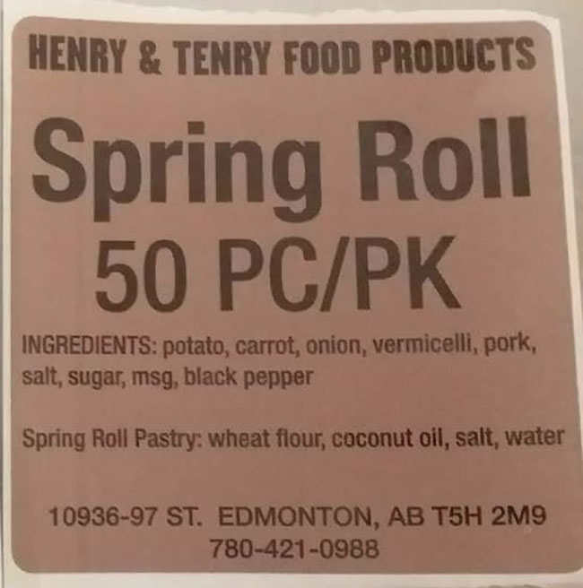 Henry and Tenry Food Products: Spring Roll - 50 pieces