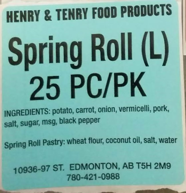 Henry and Tenry Food Products: Spring Roll (L) - 25 pieces
