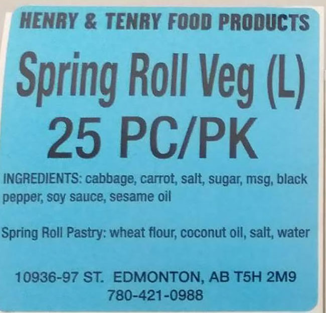 Henry and Tenry Food Products: Spring Roll Veg (L) - 25 pieces