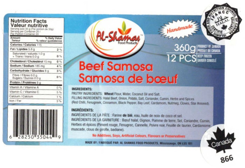 Al-Shamas Food Products : Samosa de bœuf - 360 g