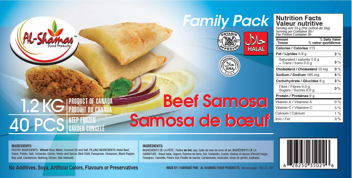 Al-Shamas Food Products : Samosa de bœuf - 1.2 kg