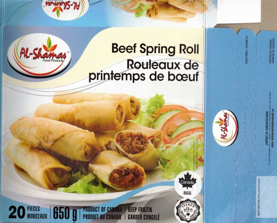 Al-Shamas Food Products : Rouleaux de printempsau de bœuf - 650 g