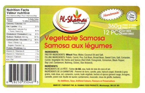 Al-Shamas Food Products : Samosa aux légumes - 360 g
