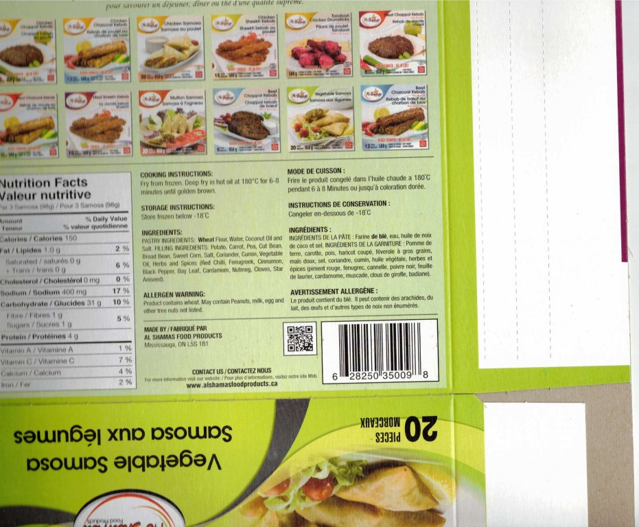 Al-Shamas Food Products : Samosa aux légumes - 650 g