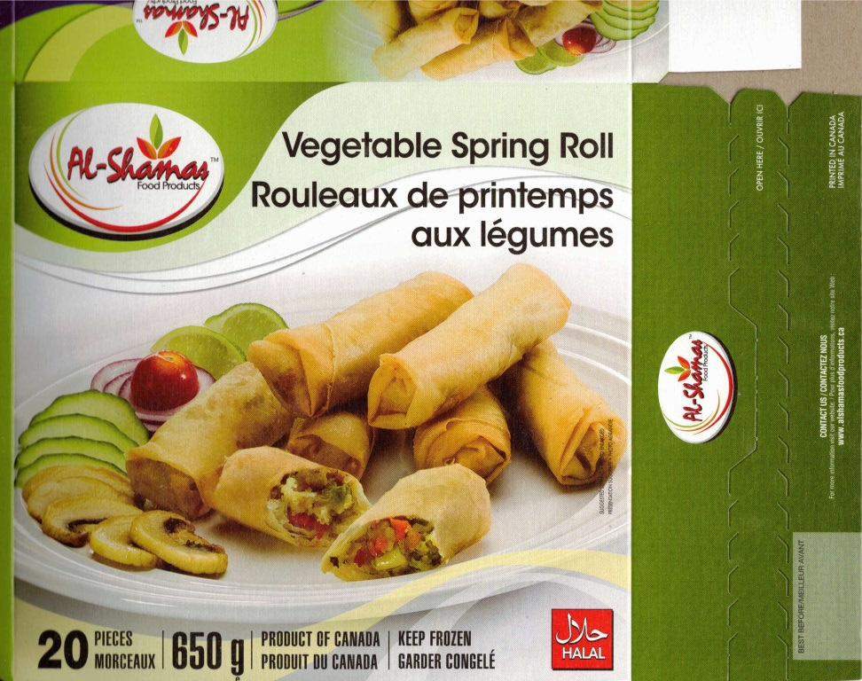 Al-Shamas Food Products : Rouleaux de printemps aux légumes - 650 g