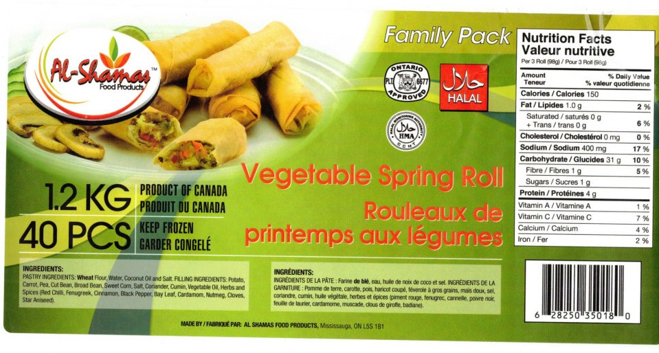 Al-Shamas Food Products : Rouleaux de printemps aux légumes - 1.2 kg