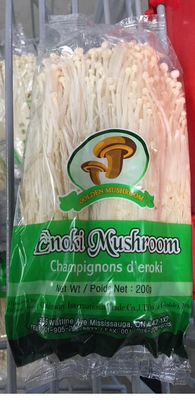 Golden Mushroom brand Enoki Mushrooms - Champignons d'enoki, 200 g (front - recto)