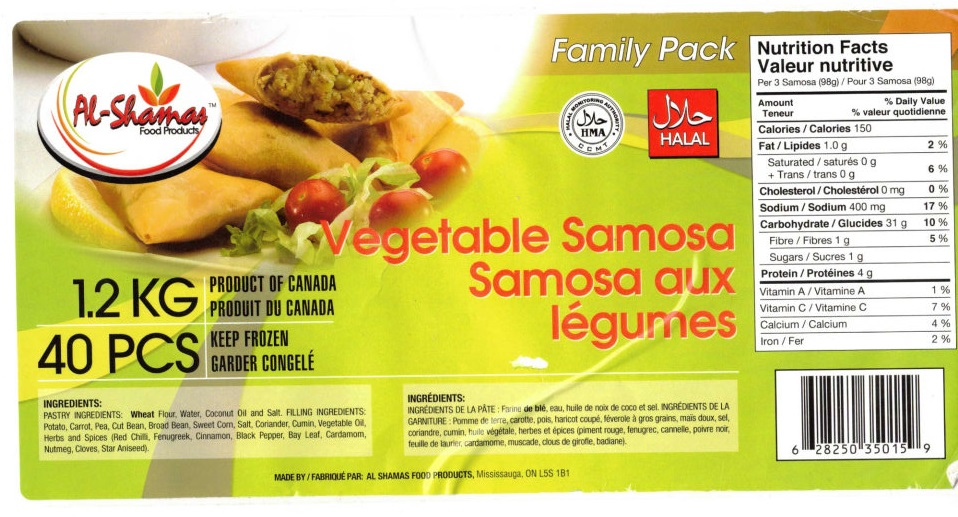 Al-Shamas Food Products : Samosa aux légumes - 1.2 kg