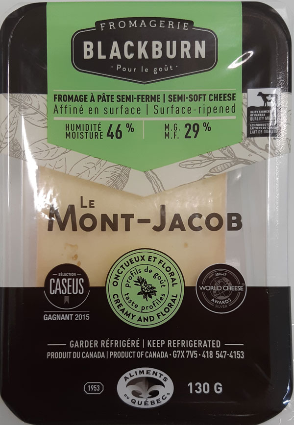 Fromagerie Blackburn – Le Mont-Jacob semi-soft cheese – 130 grams (front)