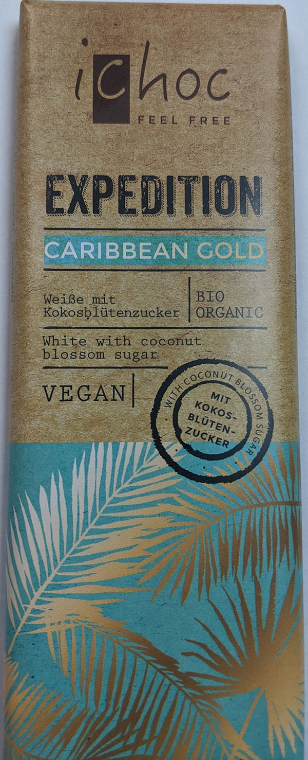 iChoc - Expedition Caribbean Gold – White with Coconut Blossom Sugar - Vegan - front
