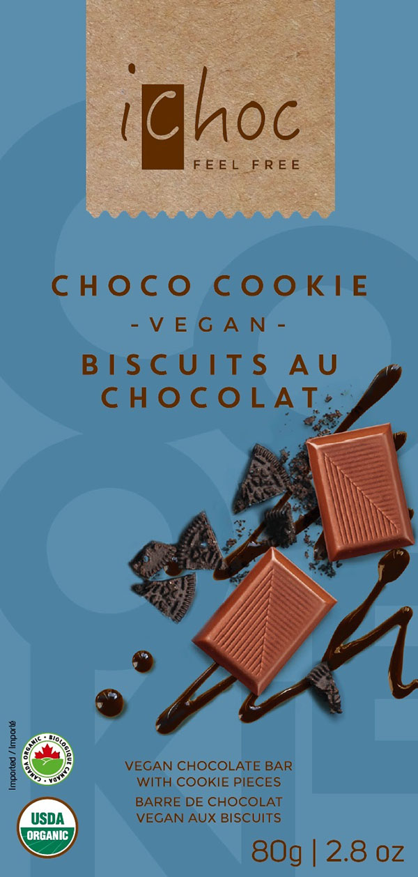 iChoc - Choco Cookie – Vegan Chocolate Bar with Cookie Pieces