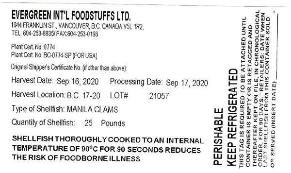 Evergreen Int'l Foodstuffs Ltd. - Manila clams