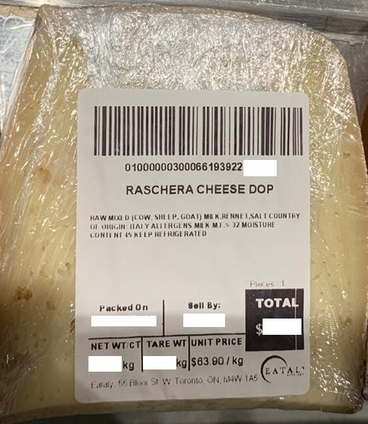 None – sold by Eataly - Raschera Cheese DOP