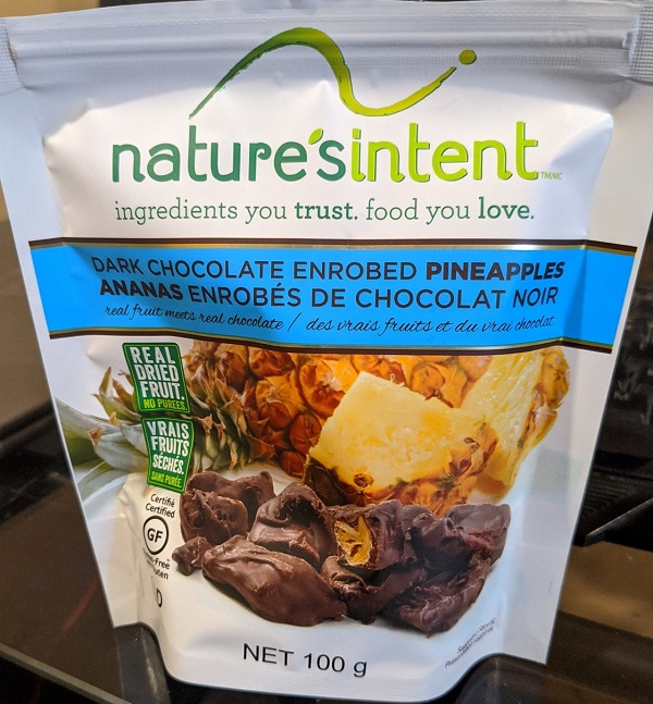 Nature's Intent – Dark Chocolate Enrobed Pineapples – 100 grams (front)