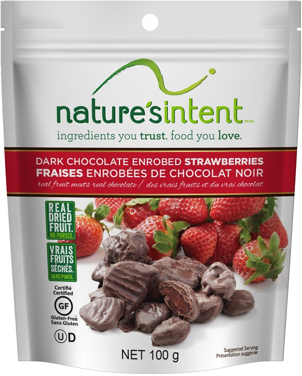 Nature's Intent – Dark Chocolate Enrobed Strawberries – 100 grams (front)