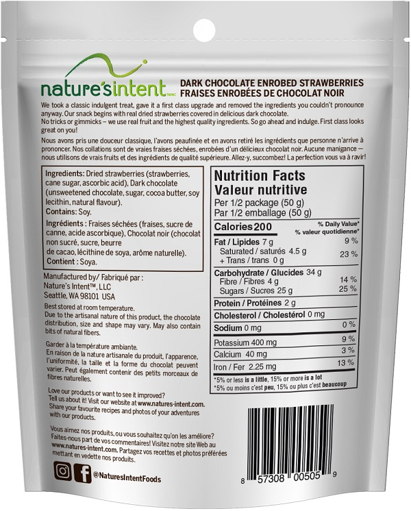 Nature's Intent – Dark Chocolate Enrobed Strawberries – 100 grams (back)