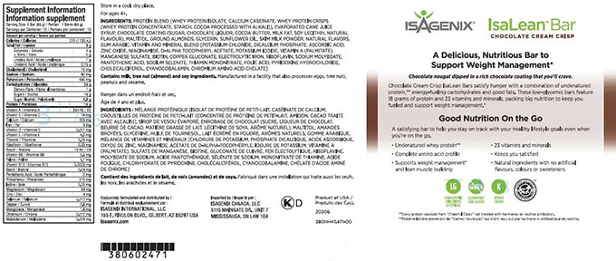Isagenix: Isalean Bar - Chocolate Cream Crisp: 65 g (10 bars)