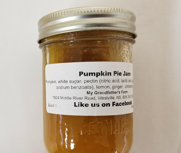 My Grandfather's Farm – Pumpkin Pie Jam – 250 mL (label)
